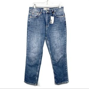 Topshop NEW Straight High Waisted Blue Jeans SZ 32